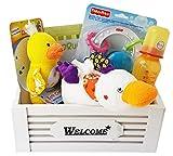 Geschenkkorb Welcome Baby Geschenk Unisex zur Geburt oder Taufe (Mittel)