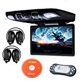 Xtrons Black 15.6 Inch HD Digital Widescreen Car Overhead Coach Caravan Roof Flip Down DVD Player Game Disc IR Headphones Included