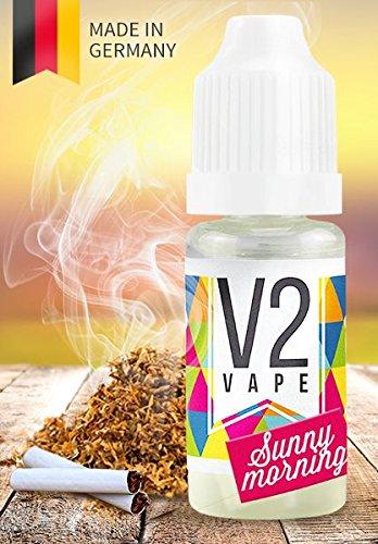V2 Vape E-Liquid Tabak Sunny-Morning ohne Nikotin 20ml - Luxury Liquid für E-Zigarette und E-Shisha Made in Germany aus natürlichen Zutaten 0mg nikotinfrei