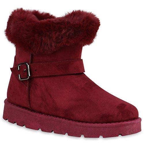 Warm Gefütterte Damen Schuhe Stiefel Schlupfstiefel Boots Kunstfell 129379 Dunkelrot Bexhill 39...