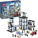 LEGO 60141 City Police Station Building Set, with Helicopter, Car and Motorbike, Jail Break and Chase Toys for Kids, Mixed