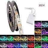 LED Streifen Strip, GLISTENY Flexible Lichter Band Leiste RGB 5050 SMD Lichtschlauch Wasserdicht IP65 Batteriebetriebenes Dekorative Licht Schnur DC4.5V + Battery Box 50cm