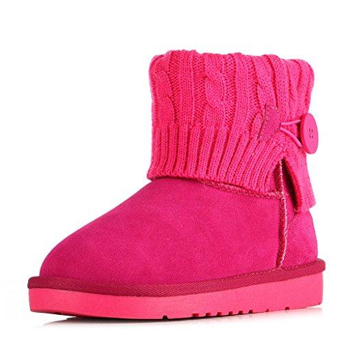 Scarponi Stivali da neve femminili Stivali corti Ispessimento scarpe imbottite di cotone Studente antiscivolo Scarpe da donna invernali Stivali da neve ( Colore : Vino rosso , dimensioni : 39 ) Rose Red