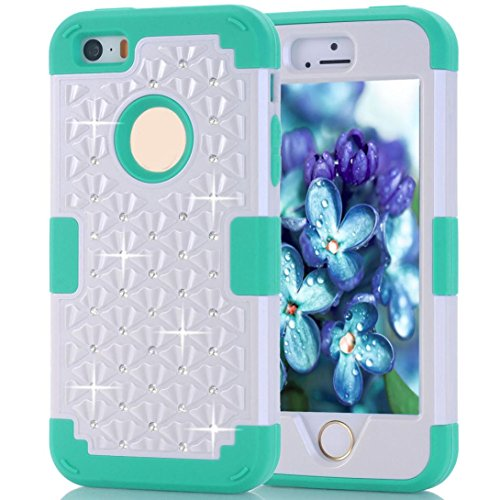 Preisvergleich Produktbild Saingace® Schlag Stoß- Muster Gummi-Kasten-Abdeckung für IPhone5/5S/SE Case Cover (Blau)