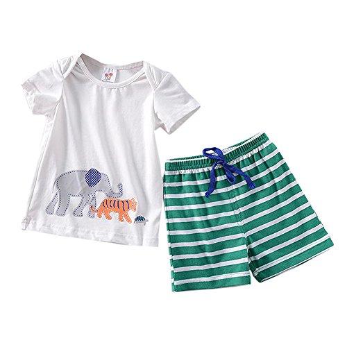 JUTOO Neugeborenes Baby Jungen Mädchen Elefant Tops Shirt + Hose Outfits Set (Weiß 2,110)