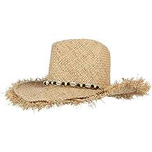 EOZY-Cappello di Paglia Stile Hawaii con Conchiglia Donna Lato Strappati  Circonferenza 58cm 87eba6c70859