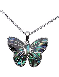 """Exquisite Natural Abalone Paua Shell Butterfly Pendant in Delicate Blue Green with 18"""" fine jewellery chain"""