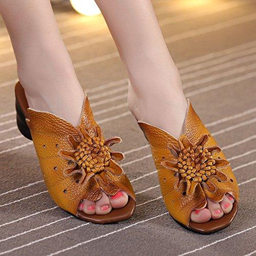 ZYUSHIZ Sandales Pantoufles Mme le style minimaliste de l'été de l'Ouest 39EU