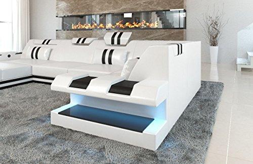 Sofa dreams - divano in pelle, modello apollonia u, colore: bianco/nero