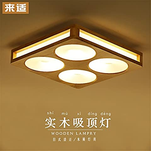 BRIGHTLLT Massivholz Deckenleuchte minimalistischen modernen chinesischen Zeichen aus Holz LED Lampen Wohnzimmer, Schlafzimmer mit 3 Farben optisch, 520mm