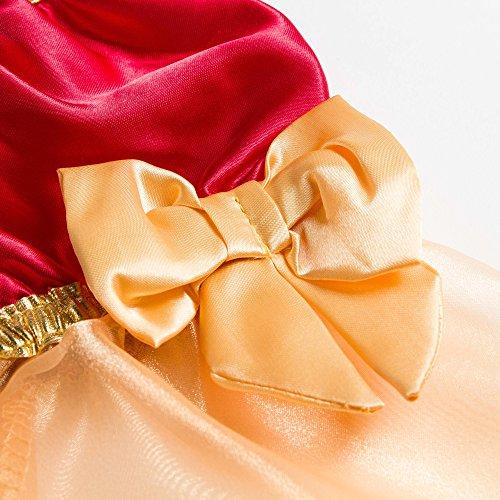 Katara 1763-128/134 – Kinder Mädchen-Kostüm Burgfräulein Kleid – Mittelalter Verkleidung Prinzessin Königin Geschenk zu Karneval, Fasching, Ritterfest – 128/134, Rot-Gold - 6