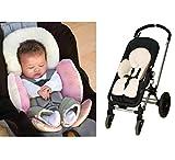 100% Baumwolle Körperunterstützung Auflage Kinderwagen Baby Buggy Sitzauflage Kissen Reversibel Warme Pad Reversibel Saison (Rosa)
