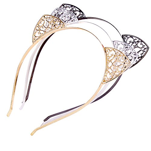 (Mädchen Katzenohren Metall Haarreif Haar Schmuck Damen Katze Haarband Schwarz Gold Silber Kostüm Cosplay Party Accessoires 3 Stück / Packung)