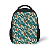 Kids School Backpack Jellyfish Decor Stylish,Vintage Diver Suit Pattern Jellyfish at The Background Water Sports Tile Theme for School Travel,9.4