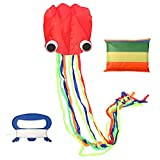 FUNTOK Cometa Deportes al aire libre Cometa de truco de Big Kite Software con manija y bolsa de almacenamiento para niños adultos (Cometa de pulpo)