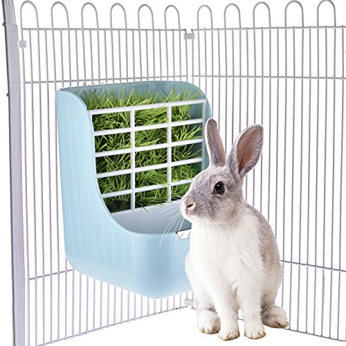 Jannyshop 2-in-1 Gräser Näpfe Grass Frame für Kaninchen Chinchillas Kleintier Zubehör