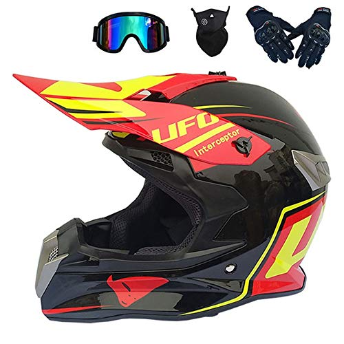 MRDEAR Motocross Casco Downhill Uomo - 4 PCS/Nero e Rosso/UFO Set da Casco MTB Integrale Adulto Casco per Moto Cross off Road Race ATV Scooter,M