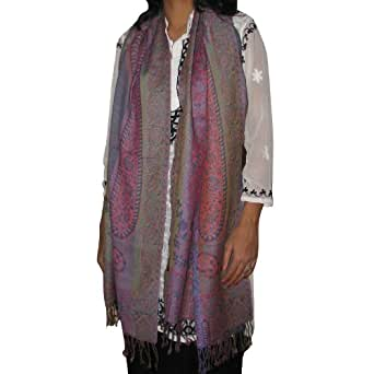 Paisley Shawl Stole Wool Winter Accessory from India 182.88 x 71.12 cms