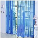 Notdark 1 Stück Transparente Einfarbige Vorhang Gardine Sheer aus Voile, Viele Attraktive Farben, 200x100 (200cm x 100cm, Blau)
