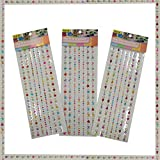 #9: AsianHobbyCrafts Multi Stone Stickers for Scrapbooking, Gift Decoration, hobby crafts etc. Size: 32 x 10 cm Sheet Qty: 3pcs per Pack