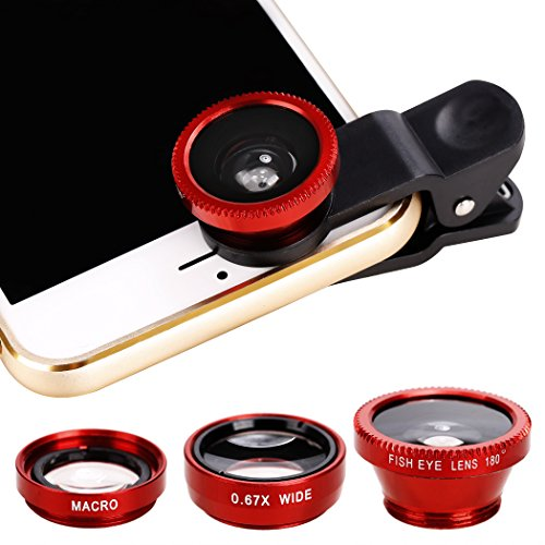 Xinnio Universal-3-in-1 Kamera-Objektiv, 0,67 x Weitwinkelobjektiv + 180 ° Fischaugenobjektiv, Makro-Kamera-Objektiv, Clip-On für iPhone XR/XS/XS MAX/X/ 8 7 6 Plus, Samsung Smartphones, M, rot Acc-wireless-kit