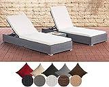 CLP 2x Polyrattan Sonnenliege NADI inkl. Tisch I 2x Wellnessliege mit verstellbarer Rückenlehne I in verschiedenen Farben erhältlich cremeweiß, Grau
