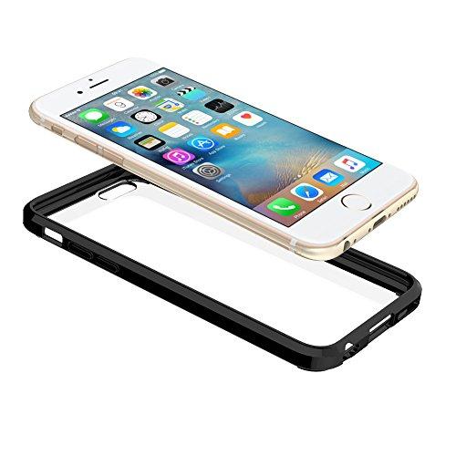FoneExpert® iPhone 6 Plus - Ultra Air Hybrid Etui Housse Coque La face arrière Claire Avec Bumper en TPU Case Cover pour iPhone 6 Plus (Noir) Noir