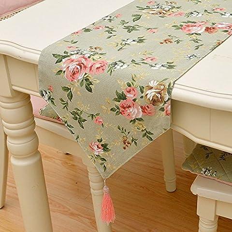 YFQH - dicke Baumwolle Canvas romantischen Garten florale Tischläufer koreanischen