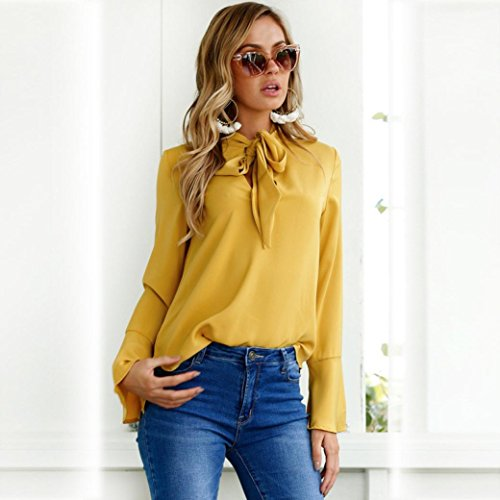 MORCHAN Femme FLARE V cou blouse Casual Tops Jaune