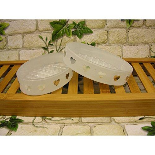 2x Vintage Seifenschale grosse Herzen Seifen-Ablage aus Glas silber/weiss oval -