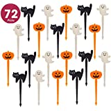 Prextex 72 Pack Plastic Halloween Cupcake Picks Ghost Jack 'O Lantern And Black Cat Cupcake Toppers