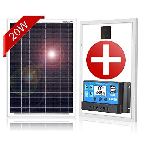 DOKIO Monokristallin Solarmodul 20W 12V mit Laderegler (2X USB-Port) für Wohnmobil, Camping, Gartenhaus