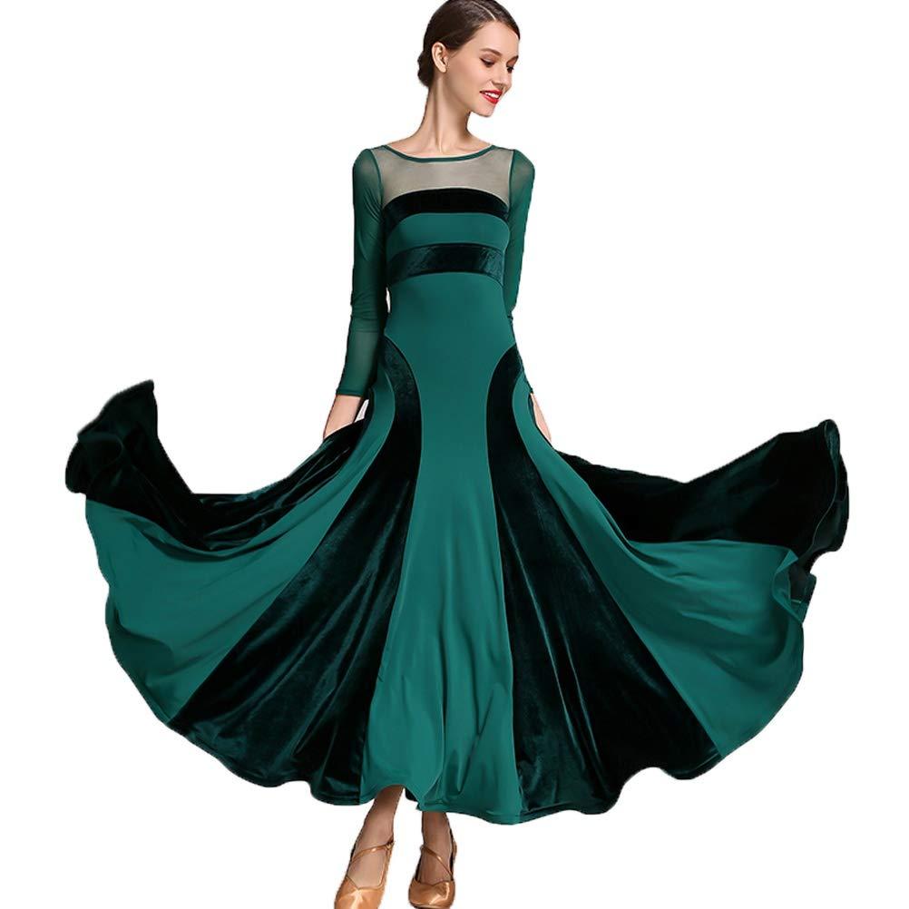 best service 8eb12 34083 MoLiYanZi Maniche Lunghe Vestiti da Sala da Ballo per Donne Velluto Maglia  Moderno Vestito Nazionale Standard Gonne Cha Cha Costume da Prestazione -  ...