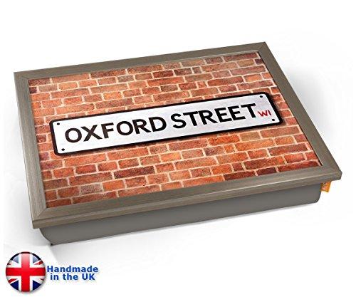 Oxford Street UK Street Road Sign Cushion Lap Tray Kissen Tablett Knietablett Kissentablett - Chrome Effekt Rahmen -