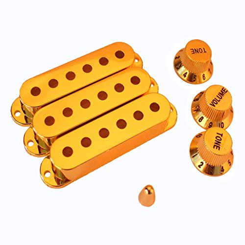Imported Gold Plated Guitar Pickup Cover and Knobs Switch Tip Set  available at amazon for Rs.560