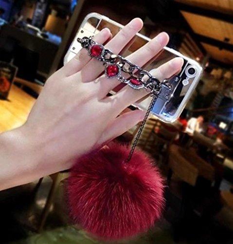 te Make-up für Teen Mädchen Lady Spiegel Slim TPU Bumper Dämpfung Kratzfest Hell Reflection Spiegel für Apple iPod Touch 6, Ball Mirror Red ()