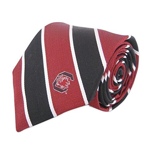 ZEP-PRO NCAA South Carolina Fighting Gamecocks Herren Krawatte aus gewebter Seide, gestreift mit Logo, Granat und Schwarz, Einheitsgröße - Universität Seide