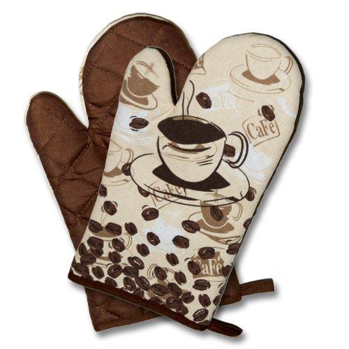 """Originelle Serie """" COFFEE TIME """" Farbe : Braun - wunderschönes Kaffee - Haus - Motiv - zur Auswahl : Topflappen oder Backhandschuhe oder Küchen - Schürze , wunderschönes Motiv - hochwertig , mit Baumwolle , eine schöne kleine Geschenk - Idee - NEU (1 Paar ( = 2 Stück ) Backhandschuh ca. 17 cm x 29 cm)"""