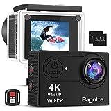 Bagotte Action Cam 4k WiFi unterwasserkamera digital 30m wasserdicht, Ultra FHD 16MP Action Kamera 170°weiter Winkel Actioncam mit 2 Batterien, eine Reihe von Zubehör
