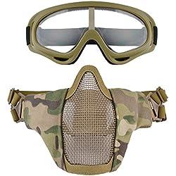 Fansport Masque à Mailles Lunettes de Plein Air Masque Protectrice Respirable de Masque de Demi Masque Airsoft avec des Lunettes