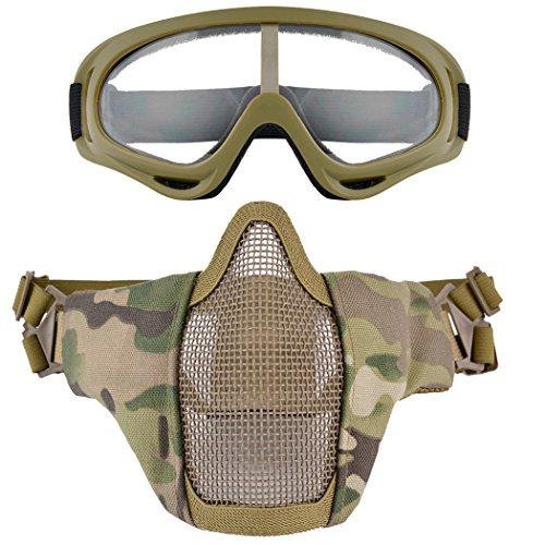 Fansport Maschenmaske Outdoor Schutzbrillen Atmungsaktive Schützende Halbe Gesichtsmaske Airsoft Mask mit Schutzbrillen -