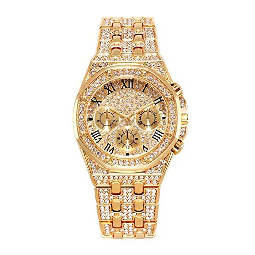 Herren Hip Hop Iced Out Techno Pave Uhr Silberfarbenes Gehäuse Band Simulierter Diamant - Bling Techno Uhr