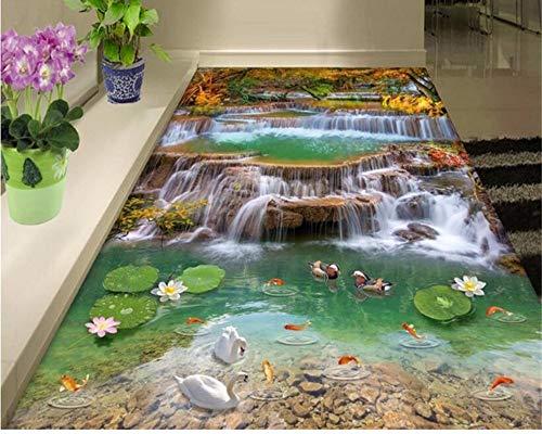 Wandbilder Anpassbare Tapete Für Wände 3 D Mode Große Abdichtung Pvc Tapeten Landschaft 3D Wasserfall Boden Malerei-350X250Cm,wallpaper 6280 Stereo