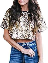 9f51acfdba7d5d YUAN Bluse, 2019 Weiblich Frühling Sommer Kleidung Mode Frauen Sexy Lose Pailletten  Glitter Blusen Sommer