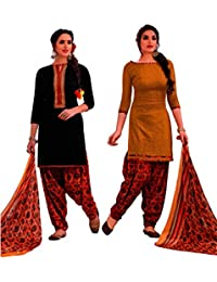 EasyToShop Retail Women's Cotton Printed Salwar Suits Unstiched Dress Materials (Combo Pack Of 2) _AMVRRR005_Mustard...