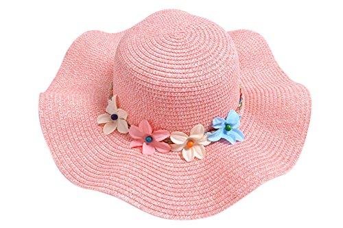 Rosa Kinder-sonnenhut (Demarkt Strohhut Sonnenhut Sommerhut Strandhut für Baby Mädchen Kappenumfang von etwa 50-52cm Rosa)