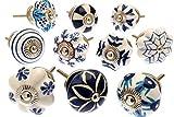 Mélange Lot de Bleu & Blanc poignées pour placards céramiques x Pk 10 (MG-203) « Vintage-Chic » TM Produit