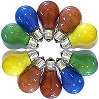 10er Set Glühbirnen farbig gemischt 25W E27 Rot Gelb Grün Blau Orange