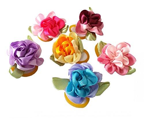 Lavendel Blumen Bulk (BIPY Haarschleifen für Hunde und Katzen, mit Gummibändern, verschiedene Farben, 20 Stück)