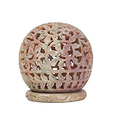 """Diwali Decorations Beautiful Handcrafted Soapstone """"Round"""" (8.8 X 7.5) Cm Tea Light Candle Holder Wedding Table Centerpiece Decorations by Store Indya"""